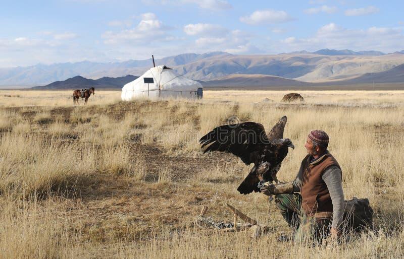 哈萨克人老鹰猎人4 图库摄影