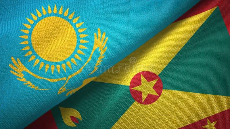 哈萨克斯坦和格林纳达两旗子纺织品布料,织品纹理 皇族释放例证