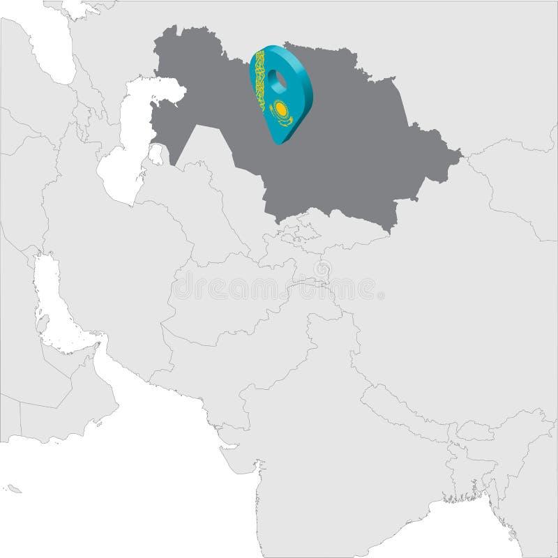 哈萨克斯坦在地图亚洲的定位图 3d哈萨克斯坦旗子地图标志地点别针 优质地图哈萨克斯坦共和国 ?? 向量例证