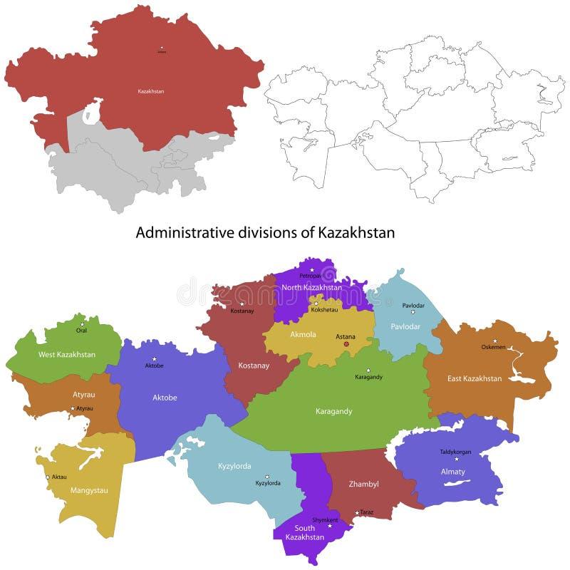 哈萨克斯坦地图 向量例证