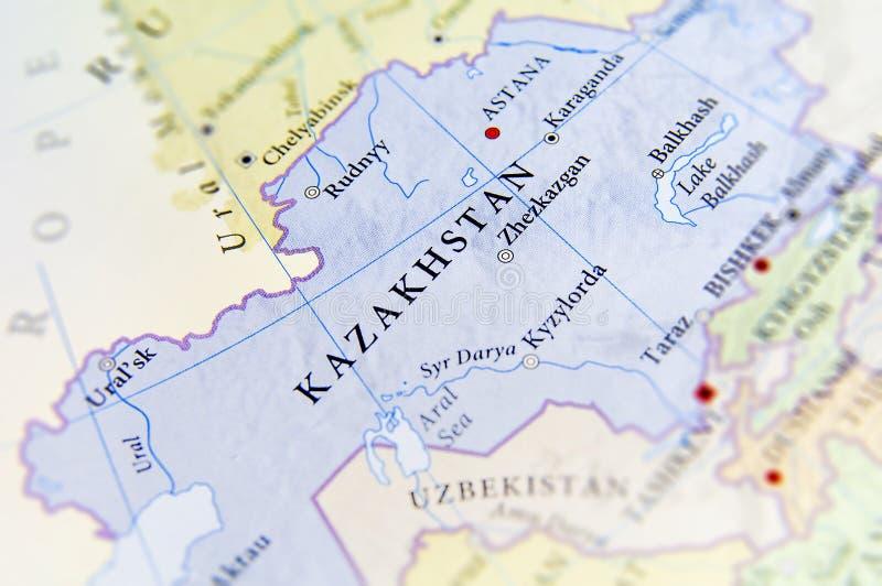 哈萨克斯坦地理地图有重要城市的 图库摄影
