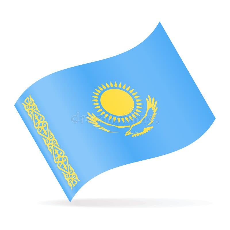 哈萨克斯坦旗子传染媒介挥动的象 库存例证