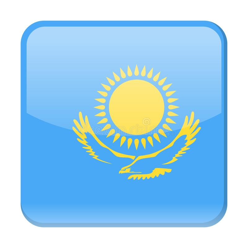 哈萨克斯坦旗子传染媒介正方形象 库存例证