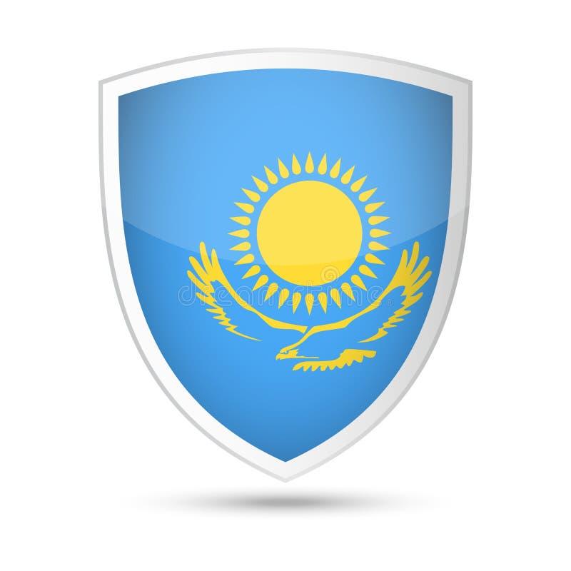 哈萨克斯坦旗子传染媒介盾象 皇族释放例证