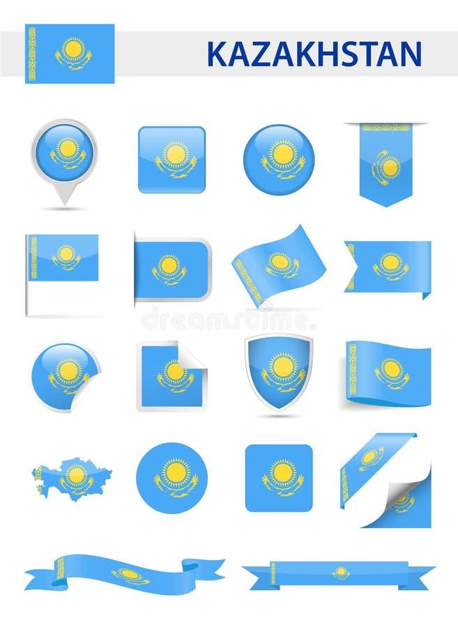 哈萨克斯坦旗子传染媒介集合 向量例证