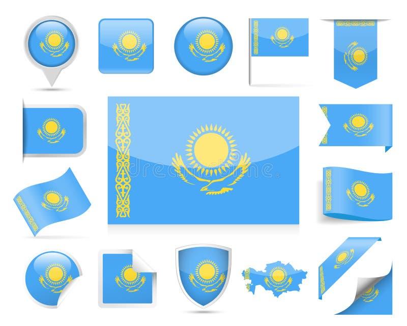 哈萨克斯坦旗子传染媒介集合 库存例证
