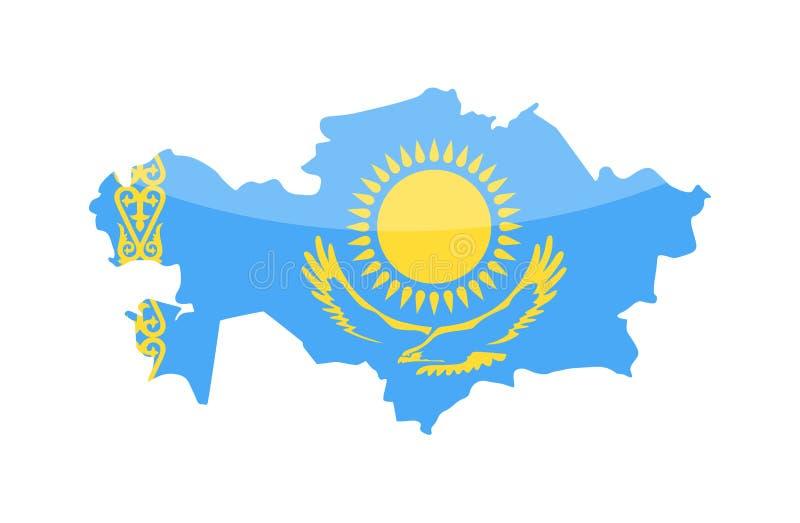 哈萨克斯坦旗子国家等高传染媒介象 向量例证
