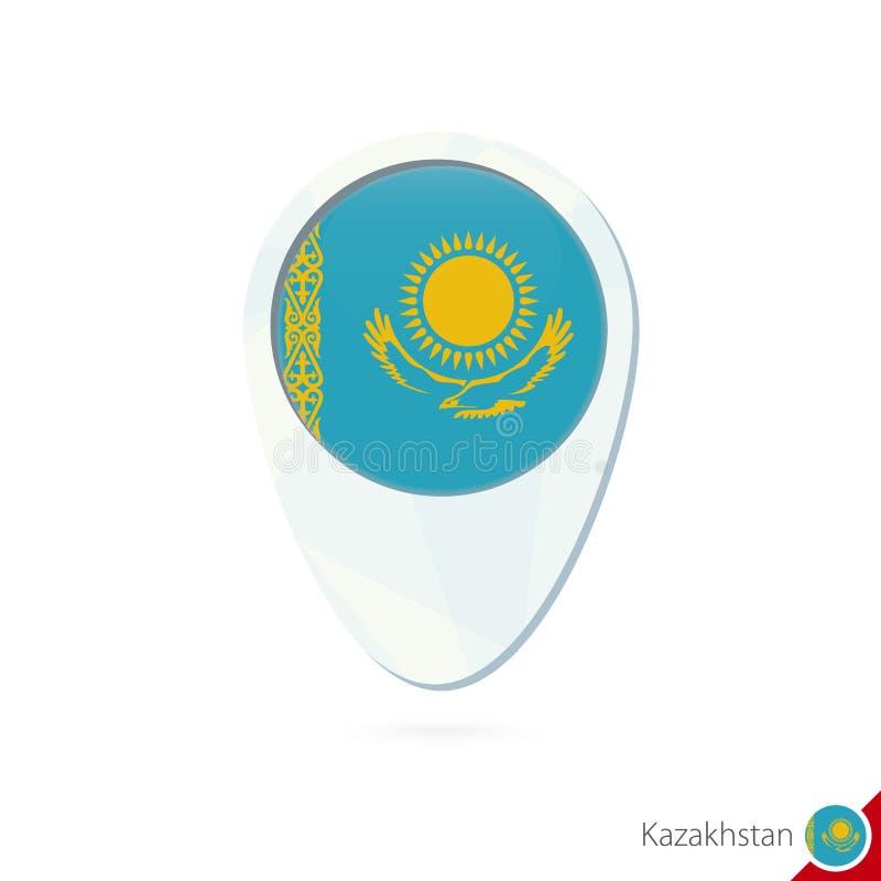哈萨克斯坦旗子定位图在白色背景的别针象 皇族释放例证