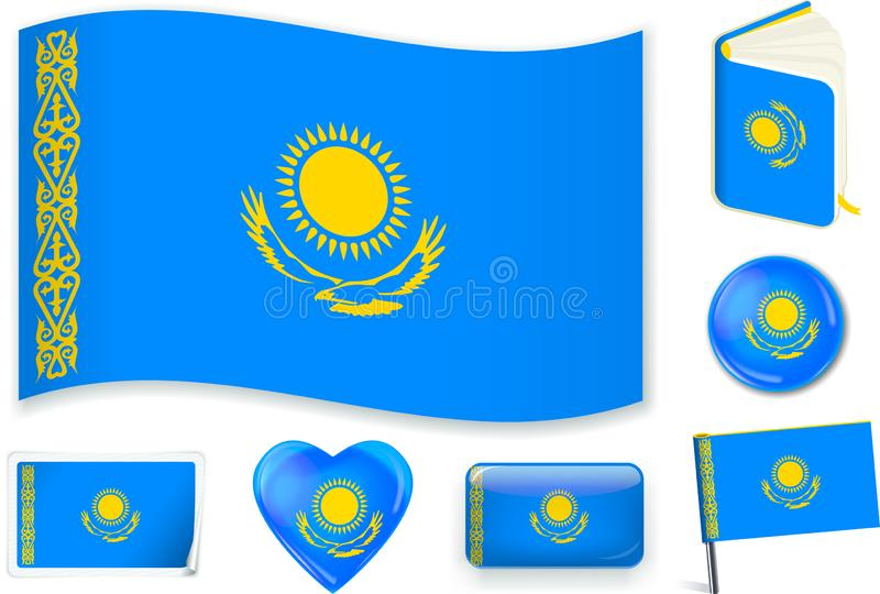 哈萨克斯坦旗子波浪、书、圈子、别针、按钮、心脏和贴纸 皇族释放例证