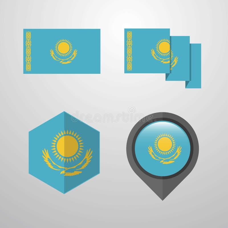 哈萨克斯坦旗子设计集合传染媒介 向量例证
