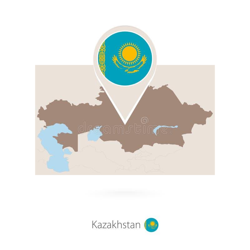 哈萨克斯坦长方形地图有哈萨克斯坦别针象的  向量例证