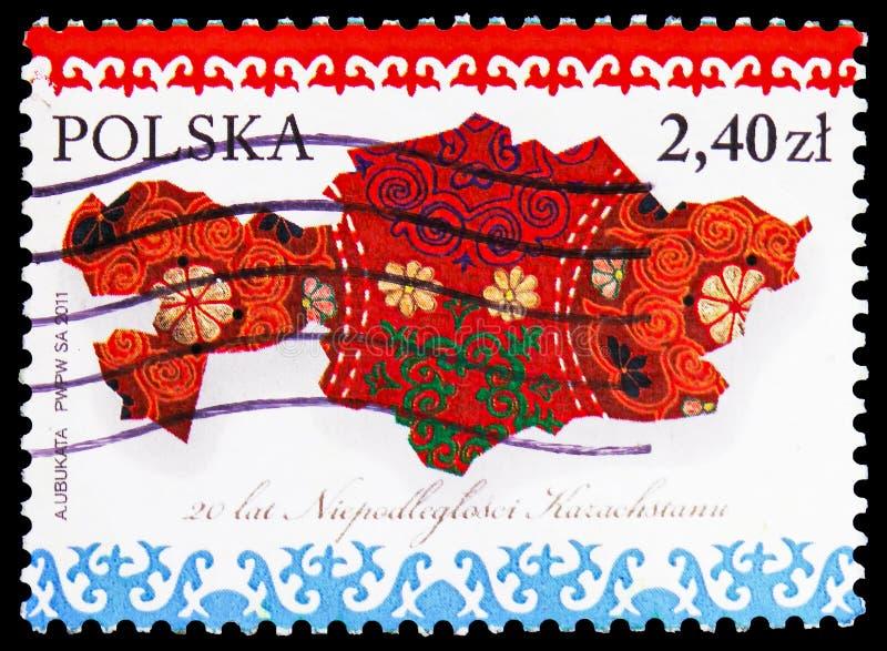 哈萨克斯坦,XX年哈萨克斯坦serie的独立,大约2011年 免版税图库摄影