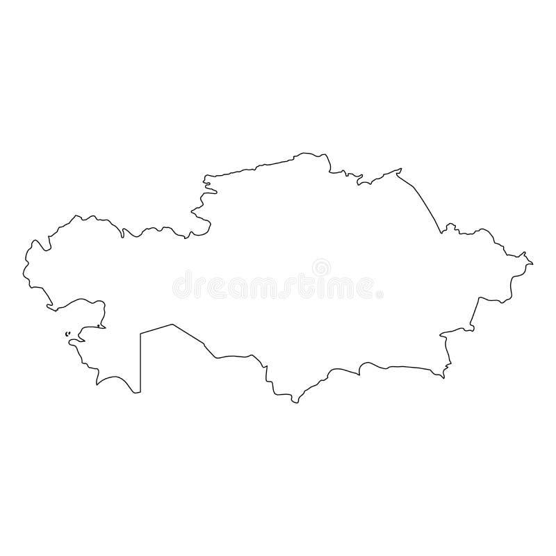哈萨克斯坦-国家区域坚实黑概述边界地图  简单的平的传染媒介例证 库存例证