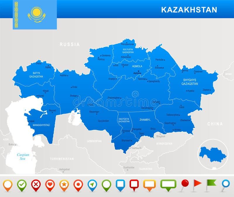 哈萨克斯坦-地图、旗子和航海象-详细的传染媒介例证 库存例证