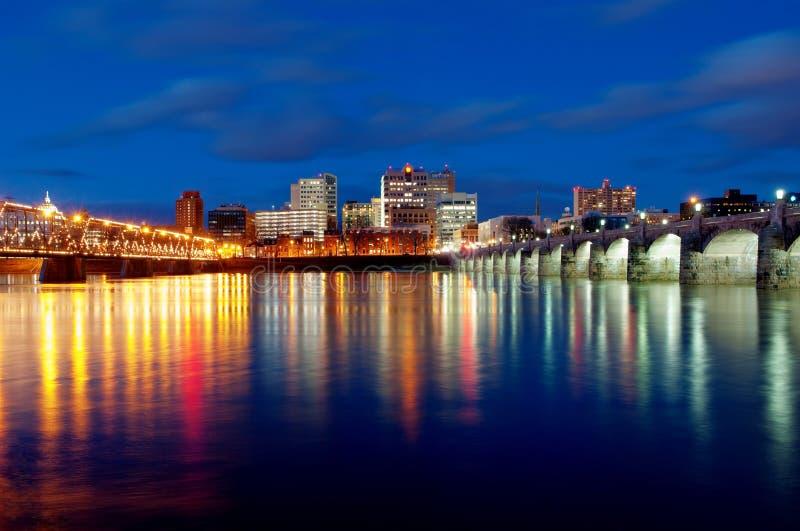 哈里斯堡宾夕法尼亚日落 免版税库存照片