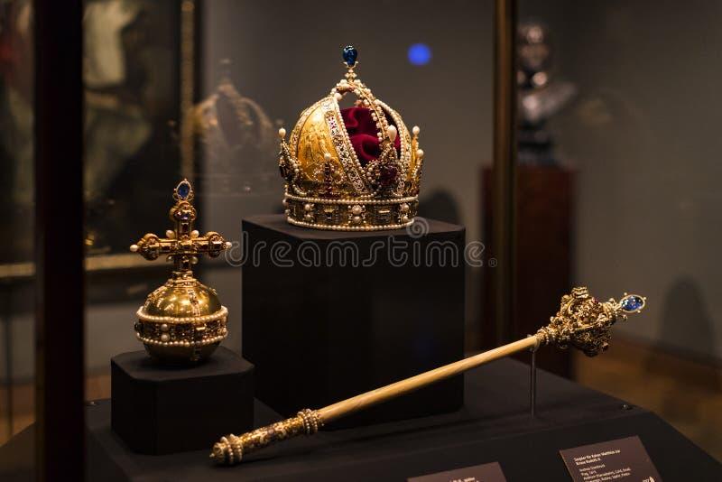 哈里斯堡朝代博物馆Hofburg宫殿的财宝在维也纳奥地利 免版税库存图片
