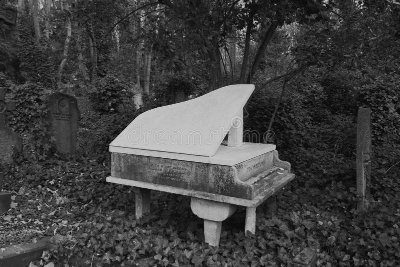 哈里桑顿钢琴坟墓Highgate 免版税库存图片