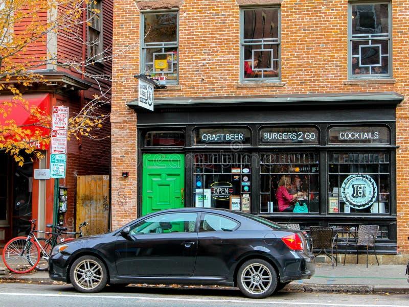 哈里的汉堡酒吧,上帝, RI 免版税图库摄影