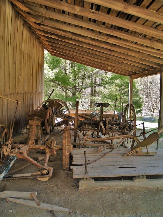 哈钦森角宅基在斯通山国家公园的古董设备 免版税库存照片
