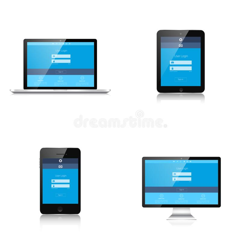 响应能力的网络设计 能适应的用户界面 数字式构想 膝上型计算机片剂显示器智能手机 被关闭的所有背景编辑eps8例证查出的对象零件可能性站点模板对透明度向量万维网白色 库存例证