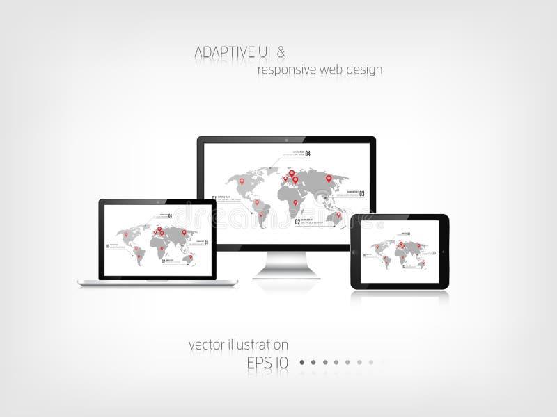 响应能力的网络设计 能适应的用户界面 数字式构想 膝上型计算机片剂显示器智能手机 被关闭的所有背景编辑eps8例证查出的对象零件可能性站点模板对透明度向量万维网白色 皇族释放例证