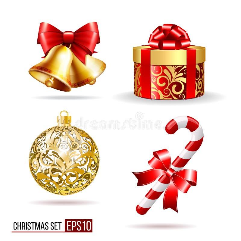 响铃、礼物盒、candycane和圣诞节球 向量例证