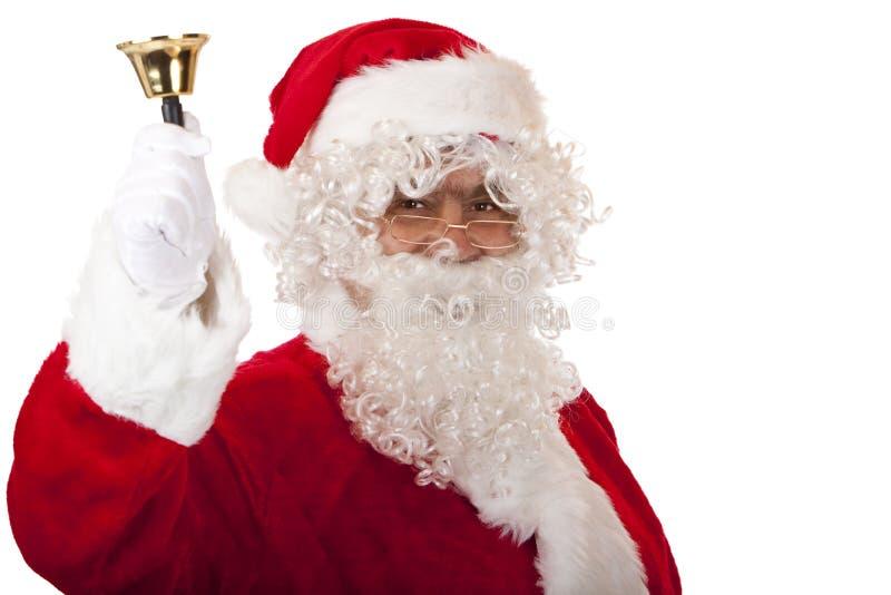 响铃圣诞节克劳斯愉快的老敲响的圣&# 免版税库存图片