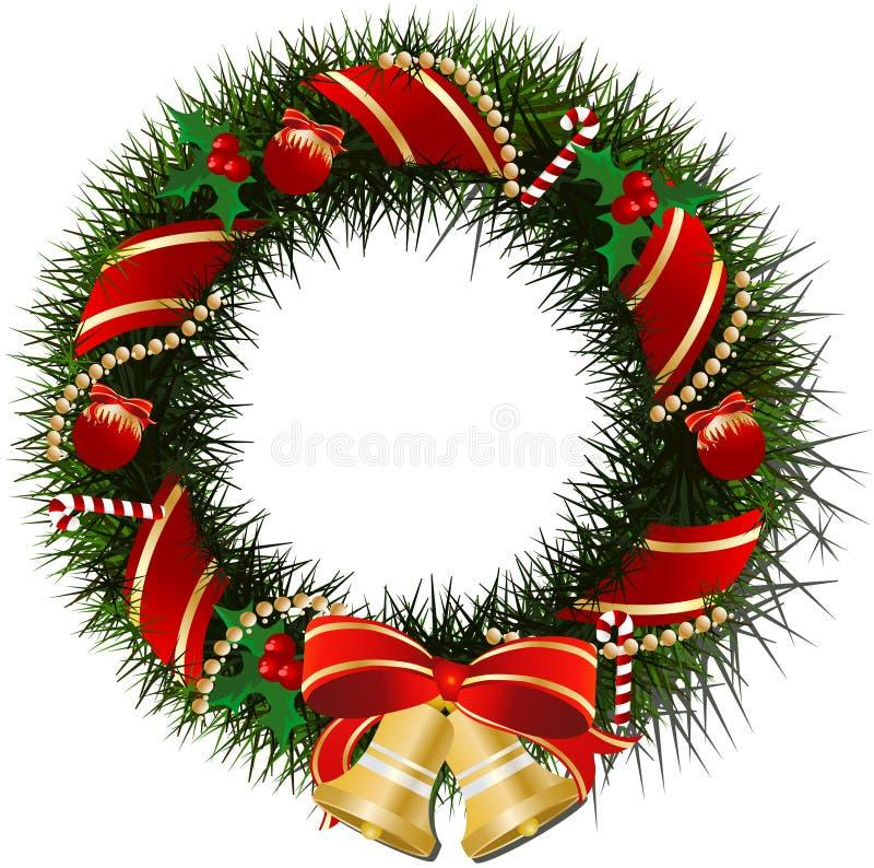 响铃圣诞节花圈 库存照片