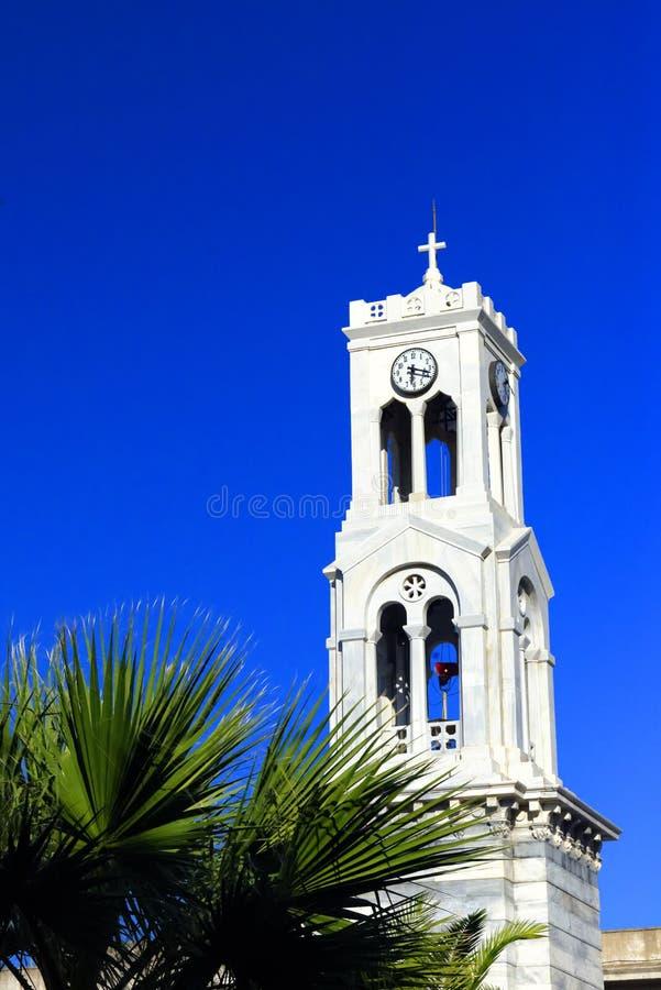 响铃教会希腊塔 库存照片