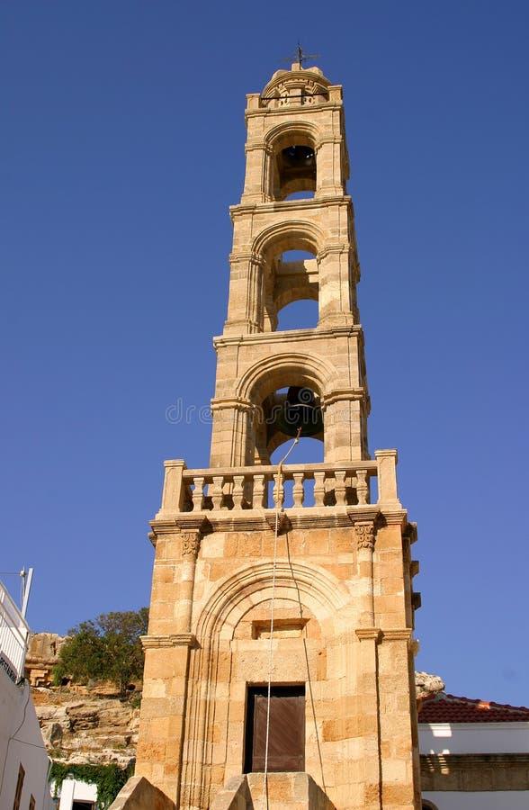 响铃教会希腊lindos正统塔 免版税库存照片