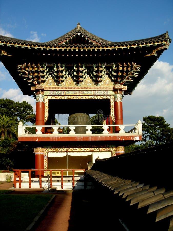 响铃海岛济州寺庙塔 图库摄影