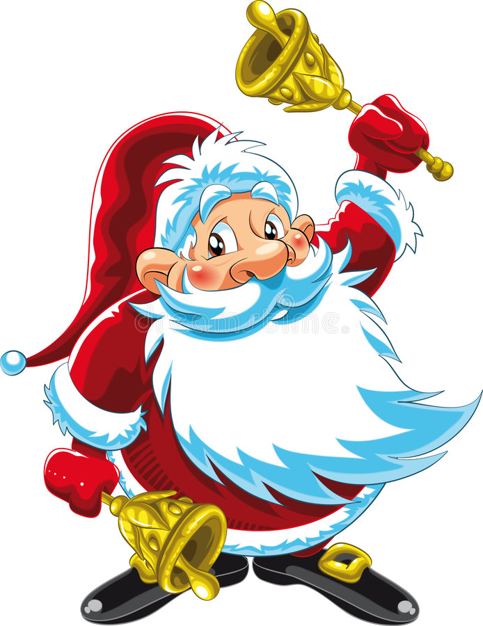 响铃演奏圣诞老人的克劳斯 皇族释放例证