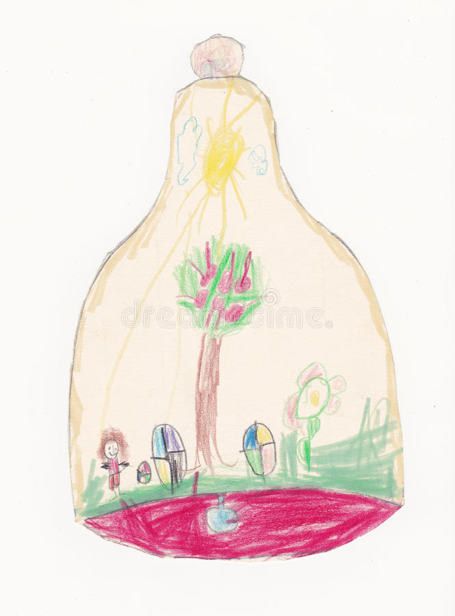 响铃的儿童例证与蓝色拍板和绘画的 库存例证