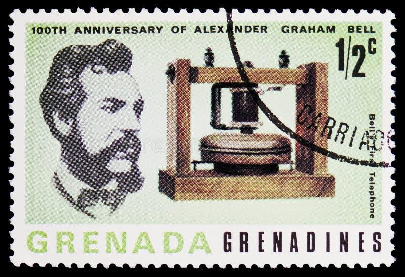 响铃的第一个电话,百年第一通话1876年3月10日serie,大约1977年 库存照片