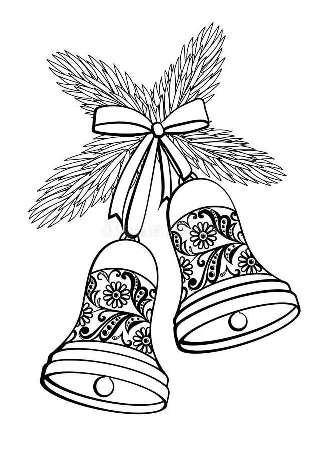 响铃的黑白剪影与花卉 向量例证