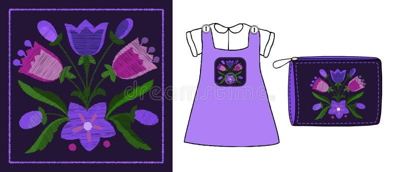 响铃花束的风格化刺绣  皇族释放例证