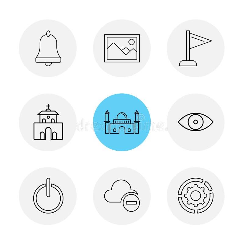 响铃,图象,旗子,教会,清真寺,眼睛,云彩, 库存例证
