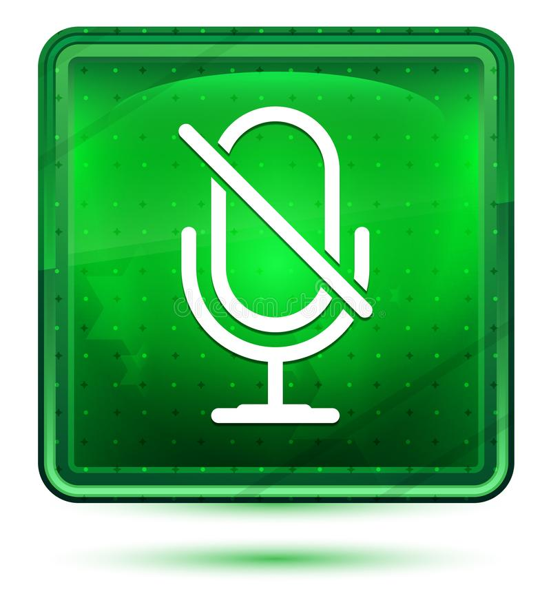 哑话筒象霓虹浅绿色的方形的按钮 向量例证