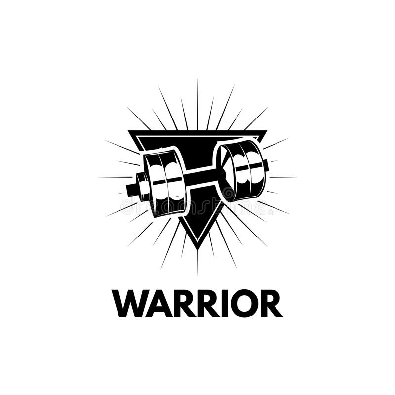 哑铃 杠铃 体育标志 战士 在三角商标的哑铃 向量 向量例证
