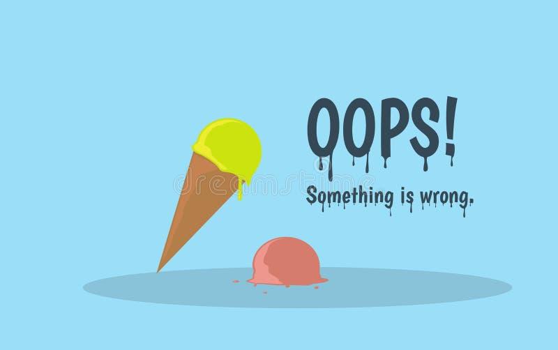 哟与熔化的冰淇凌的错误页 平的动画片例证 向量例证
