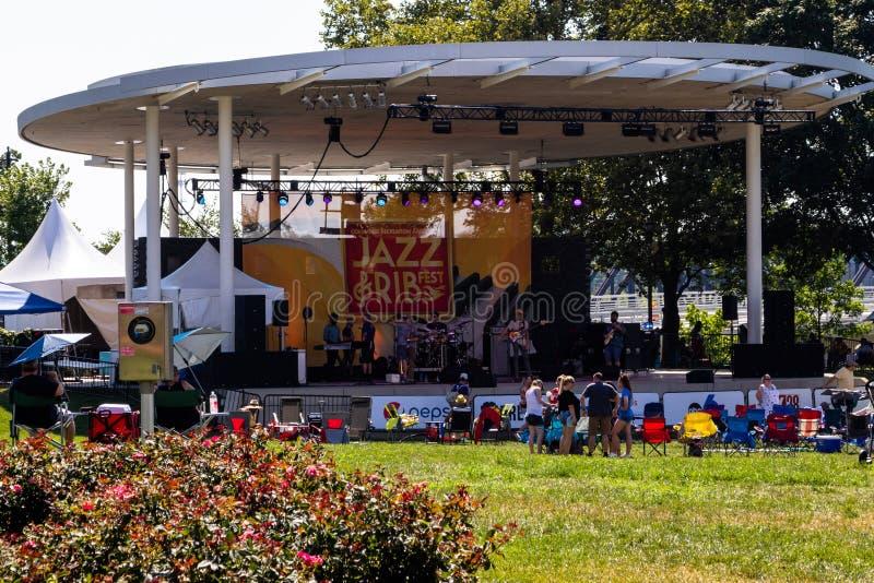 哥伦布、俄亥俄- 2019年7月20日-爵士乐和肋骨节日 免版税库存照片