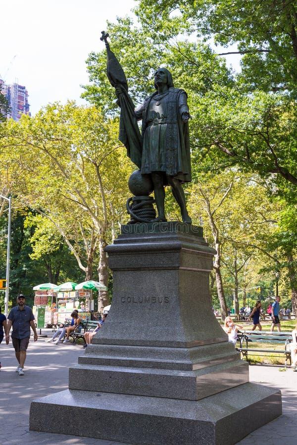 哥伦布中央公园雕象,由西班牙雕刻家Jeronimo Sunol 库存照片