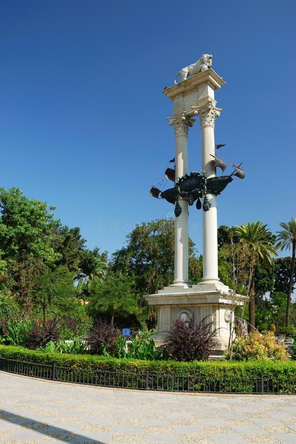 哥伦布纪念碑塞维利亚 库存照片