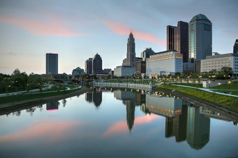 哥伦布,黄昏的俄亥俄 免版税库存图片