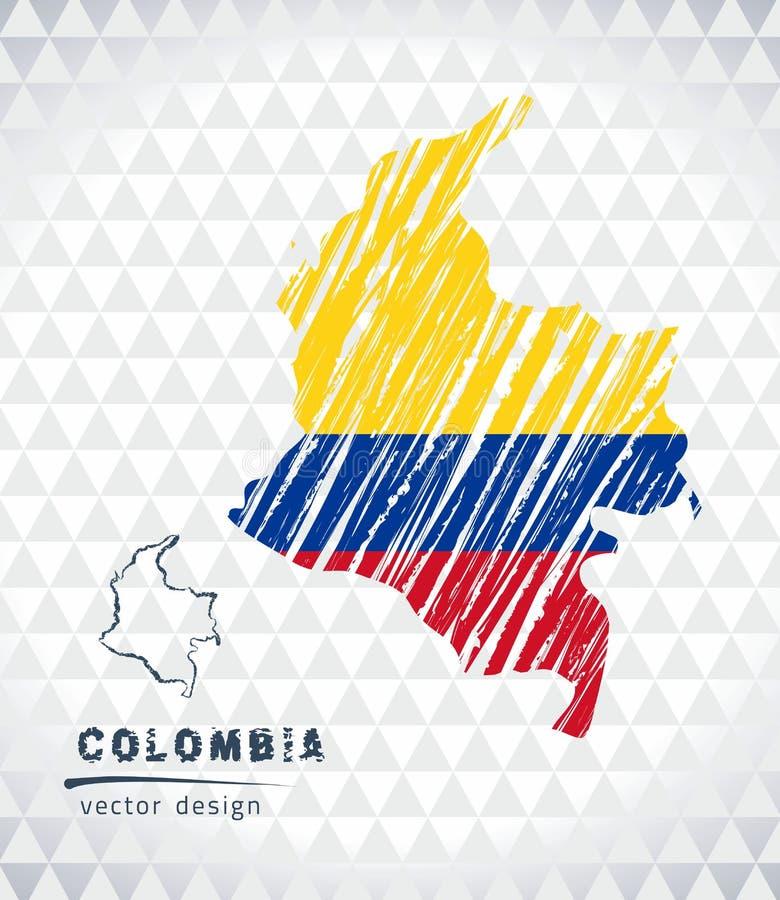 哥伦比亚与在白色背景隔绝的旗子里面的传染媒介地图 剪影白垩手拉的例证 向量例证
