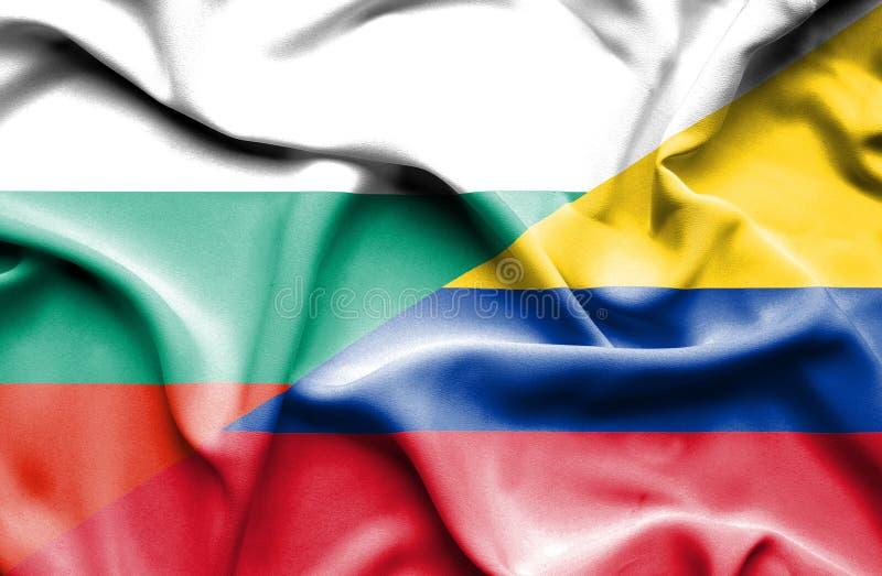 哥伦比亚和保加利亚的挥动的旗子 向量例证