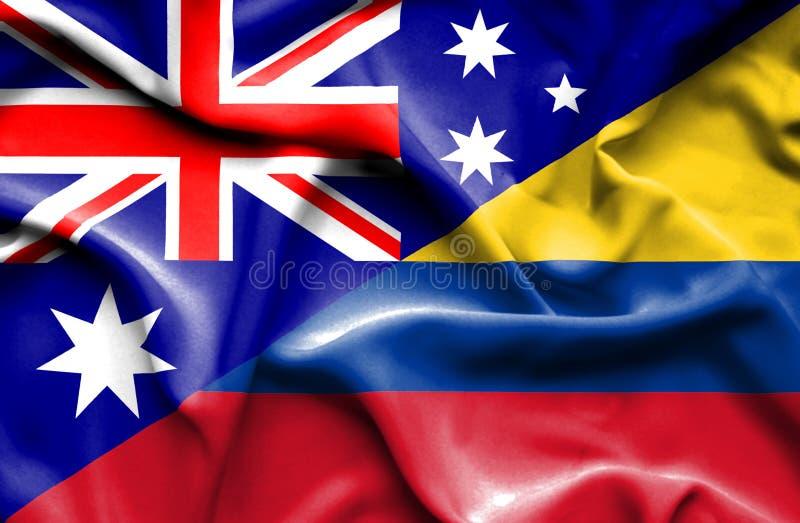 哥伦比亚和澳大利亚的挥动的旗子 向量例证