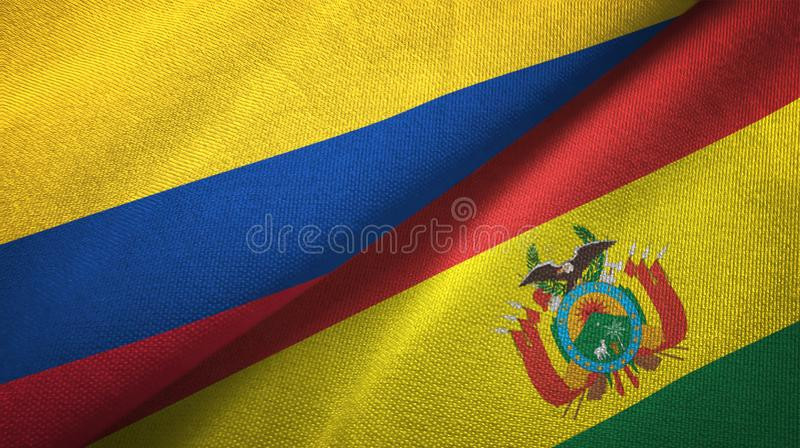 哥伦比亚和玻利维亚两旗子纺织品布料,织品纹理 库存例证