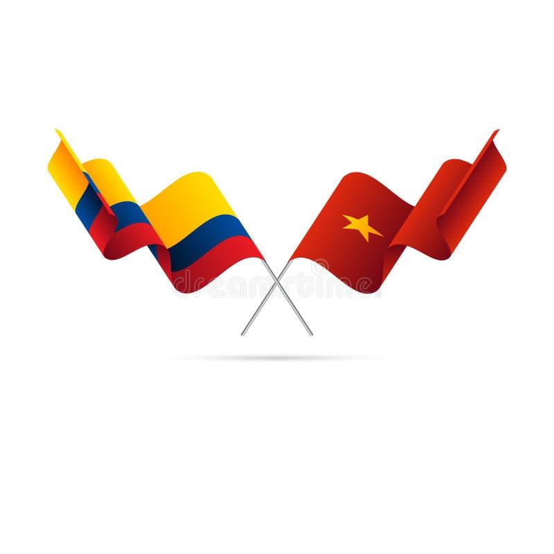 哥伦比亚和越南旗子 克服的标志 也corel凹道例证向量 向量例证
