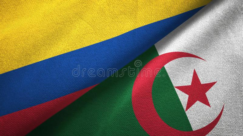 哥伦比亚和阿尔及利亚两旗子纺织品布料,织品纹理 向量例证